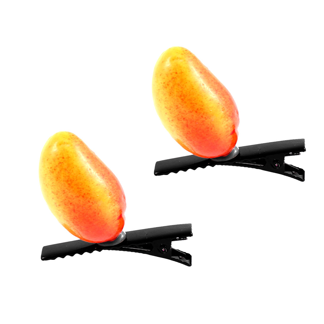 Lady Woman Plastic Fruit Detail Party Alligator Hair Clip Barrette Orange Pair