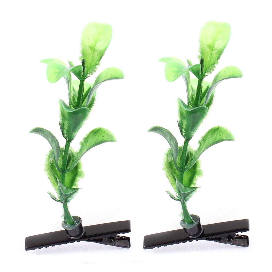 Lady Woman Plastic Plant Decor Party Alligator Hair Clip Barrette Green Pair