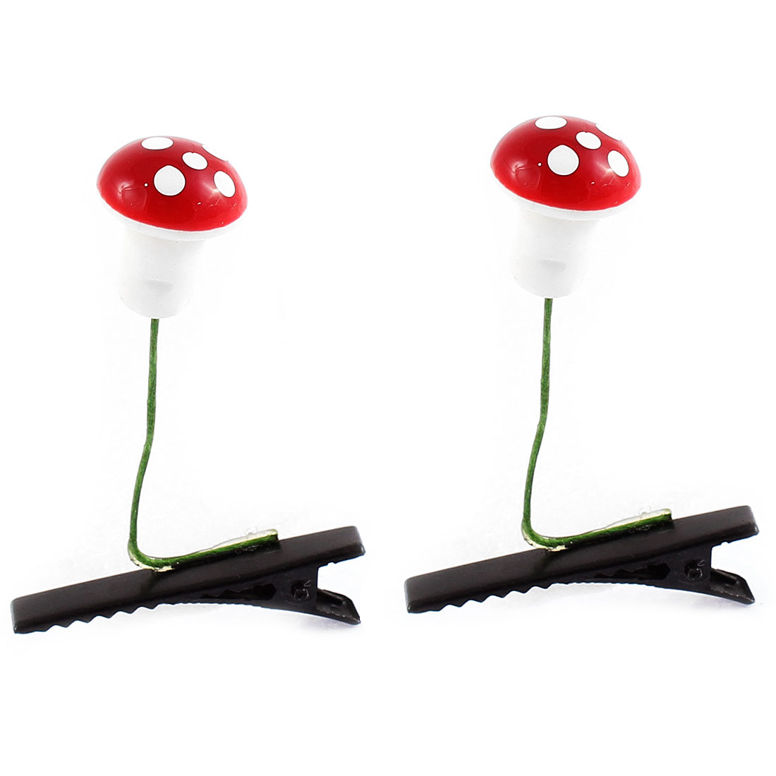 Lady Plastic Mushroom Detail Party Alligator Hair Clip Barrette Red White Pair