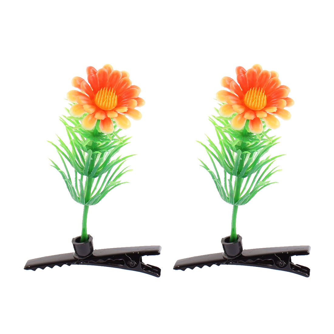 Lady Plastic Flower Detail Party Alligator Hair Clip Barrette Green Orange Pair