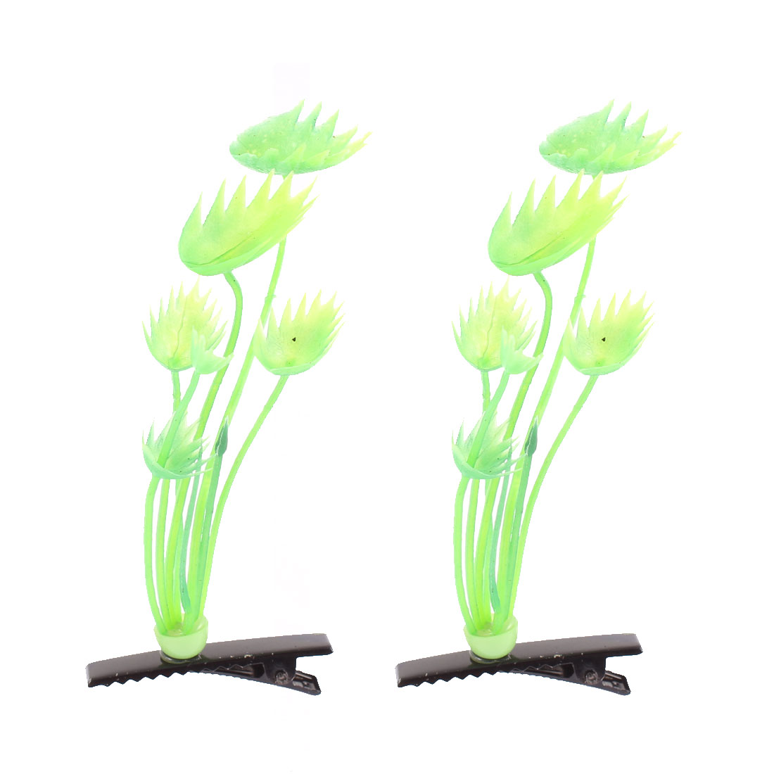 Lady Woman Plant Detail Party Flat Alligator Hair Clip Barrette Green Pair