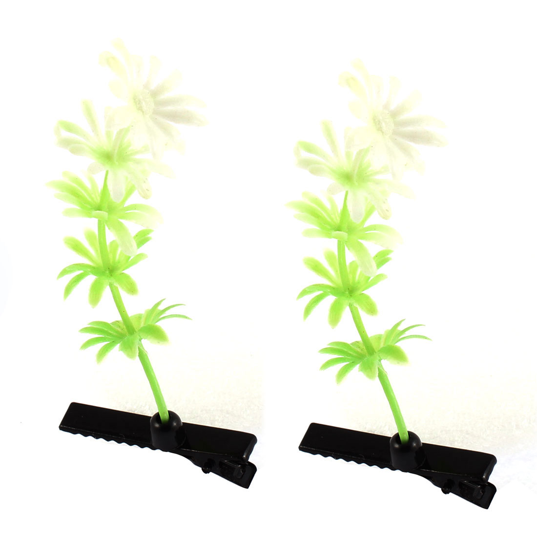 Lady Woman Plastic Plant Detail Party Alligator Hair Clip Barrette Green Pair