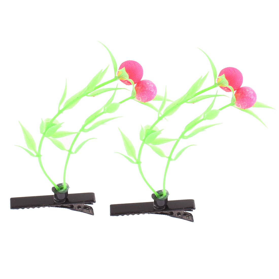 Lady Woman Fruit Detail Party Alligator Hair Clip Barrette Fuchsia Green Pair