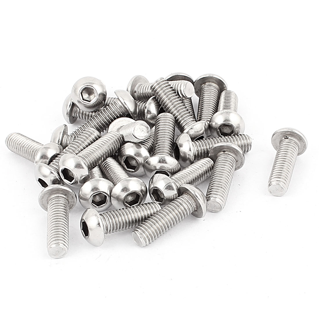 Full Thread Stainless Steel Button Head Socket Cap Screw Silver Tone M8 x 25mm 25 Pcs