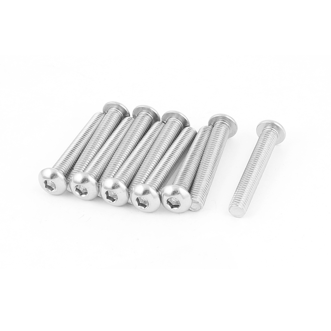 Full Thread Stainless Steel Button Head Socket Cap Screw Silver Tone M8 x 50mm 10 Pcs