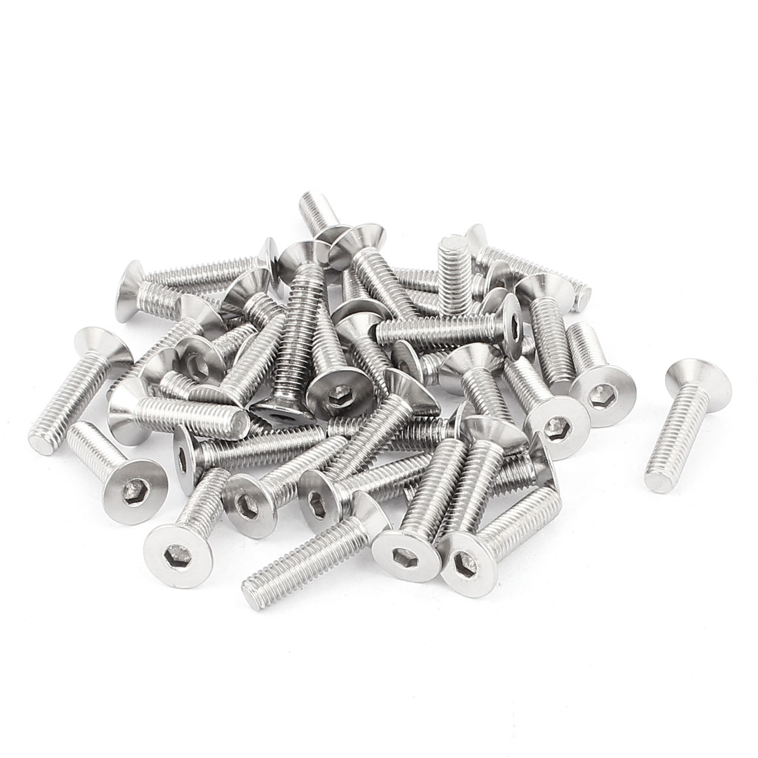 M6 x 25mm Countersunk Flat Head Hex Socket Screw Bolt DIN 7991 Silver Tone 40 Pcs