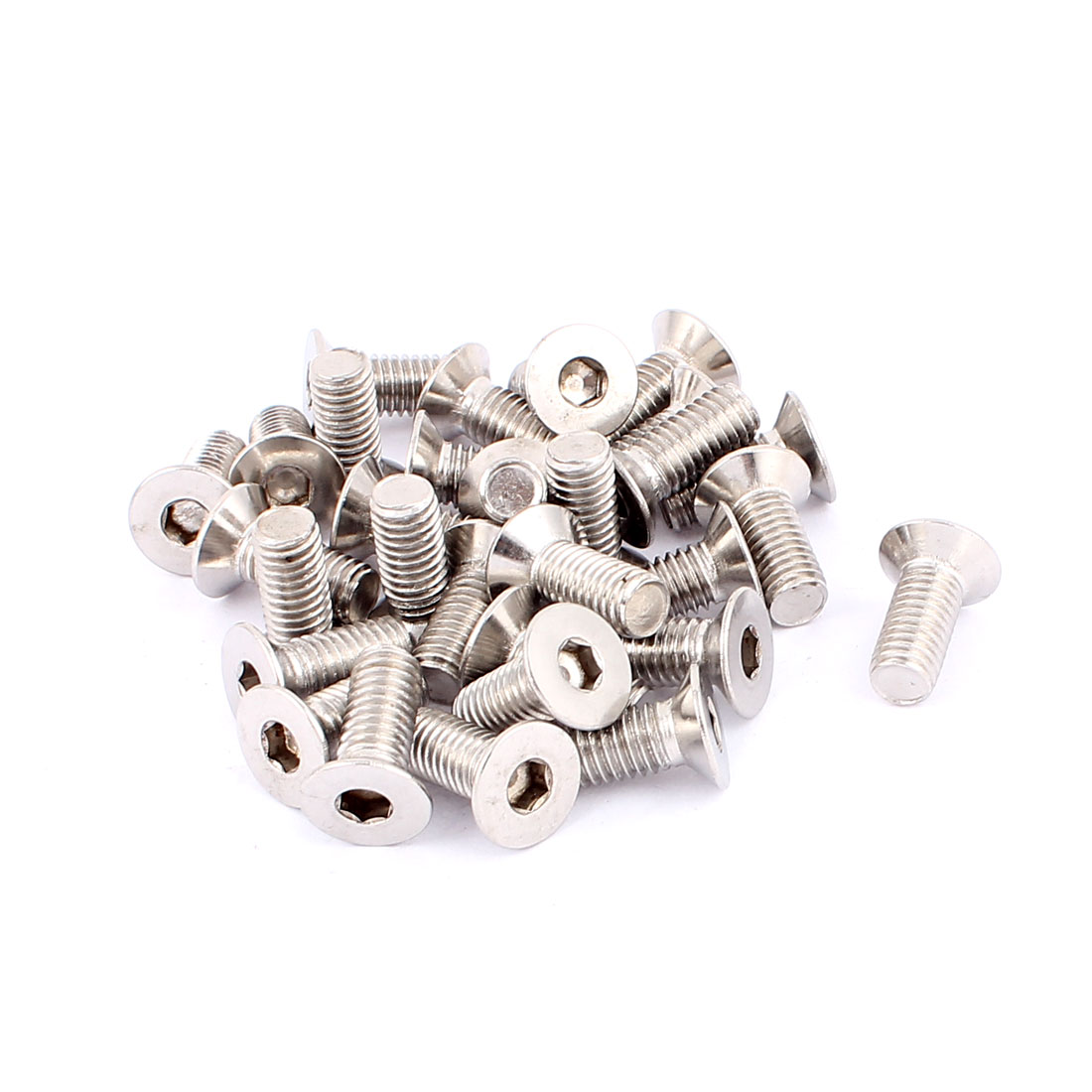 30 Pcs Metric M8 Stainless Steel Countersunk Flat Head Hex Socket Screw Bolt