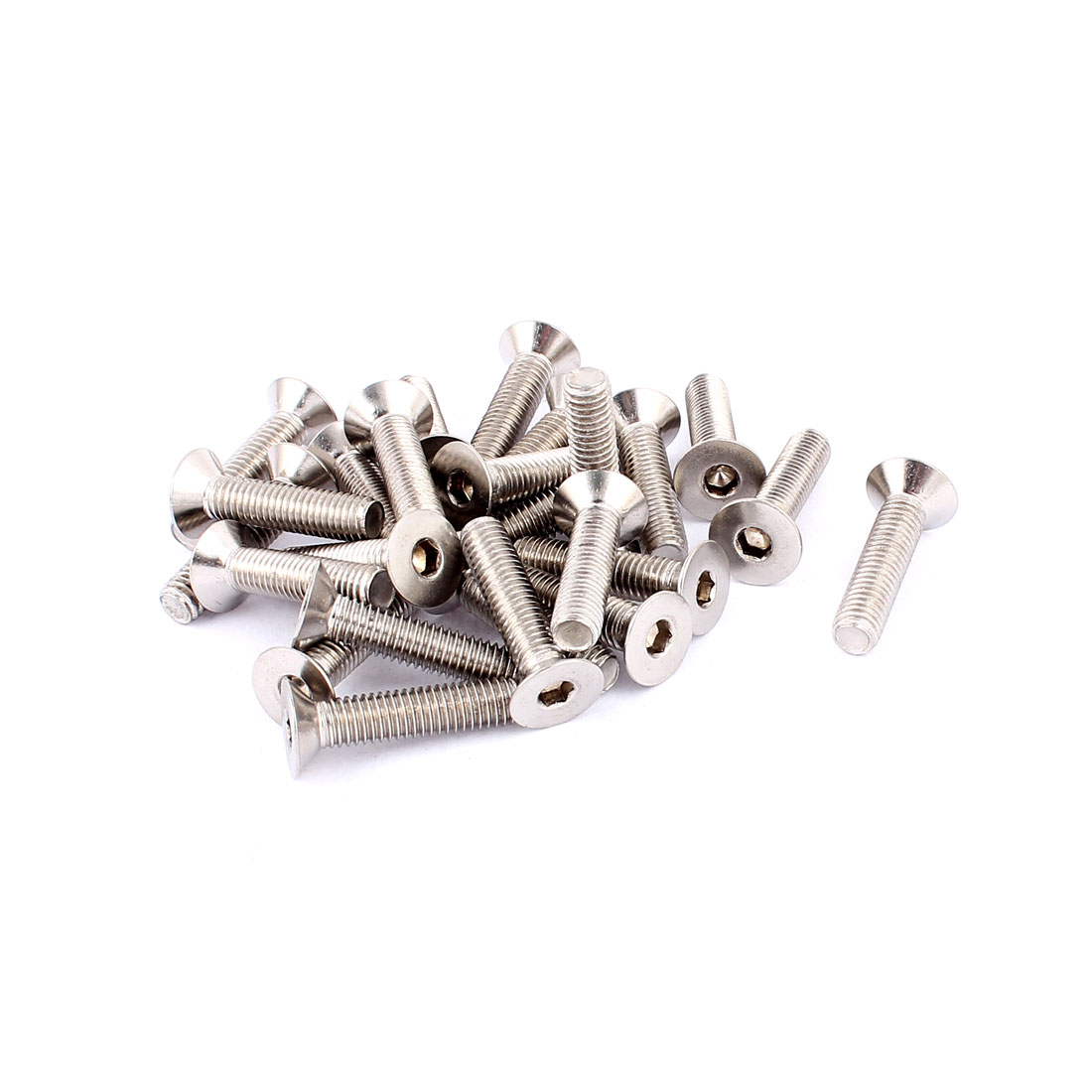 Countersunk Flat Head Hex Socket Screw Bolt DIN 7991 Silver Tone M8 x 35mm 25 Pcs