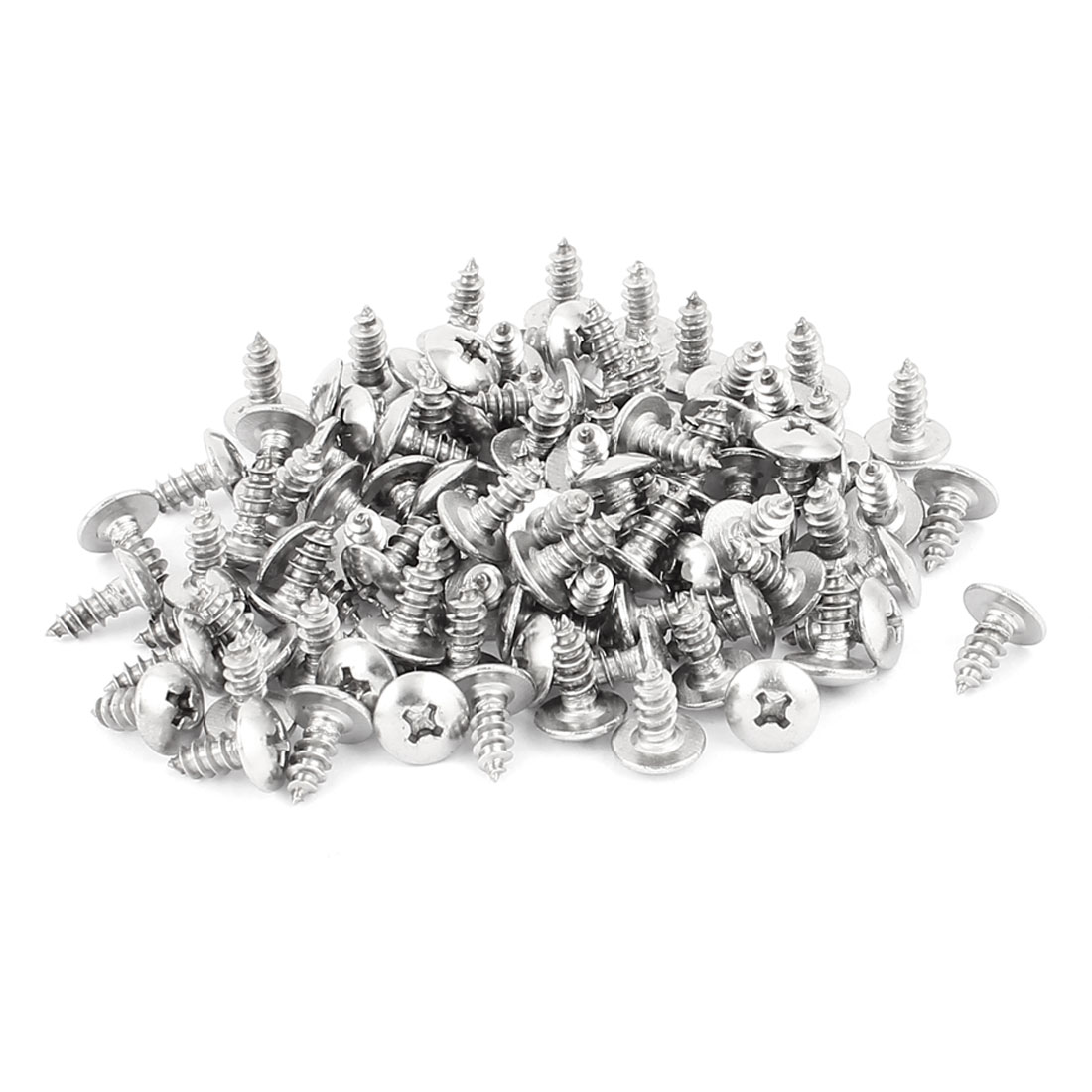 3.9mm x 11mm Phillips Cross Drive Truss Head Self Tapping Screw Fasteners Silver Tone 100 Pcs