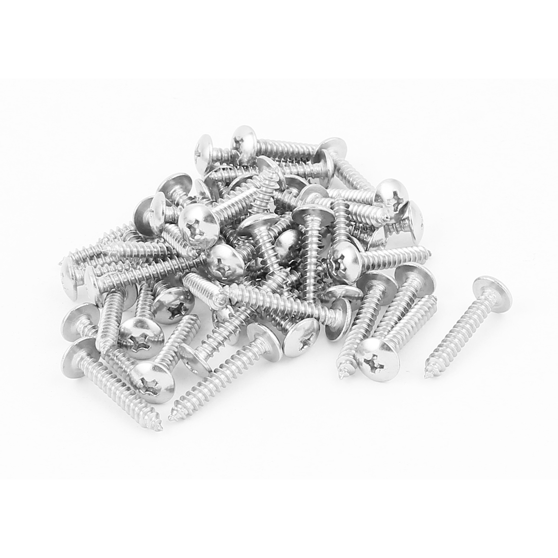 3.9mm x 25mm Phillips Cross Drive Truss Head Self Tapping Screw Fasteners Silver Tone 50 Pcs