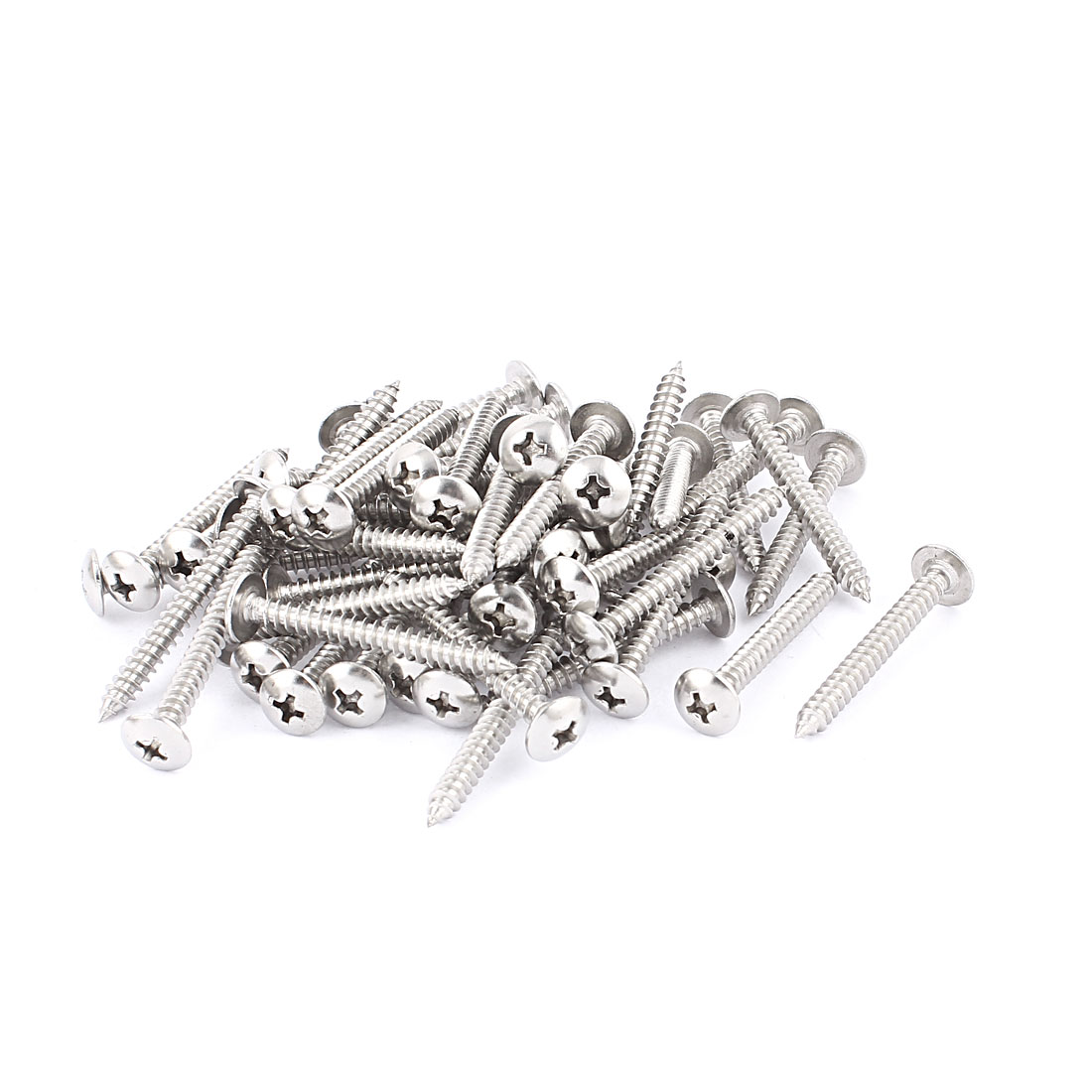 3.9 x 37mm Stainless Steel Phillips Truss Head Self Tapping Screw Fasteners Silver Tone 50 Pcs