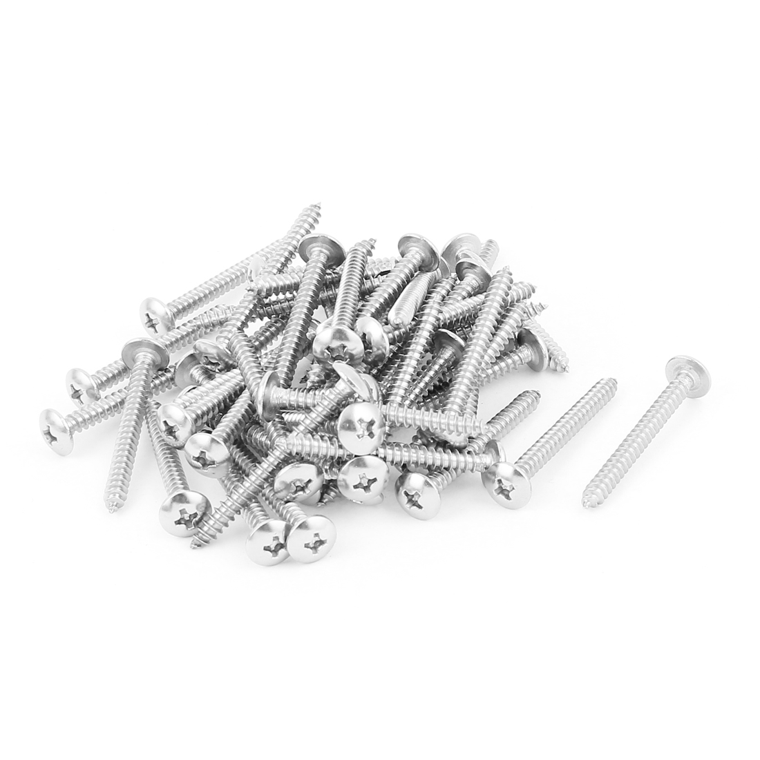 3.9mm x 40mm Stainless Steel Phillips Truss Head Self Tapping Screw Fasteners Silver Tone 50 Pcs