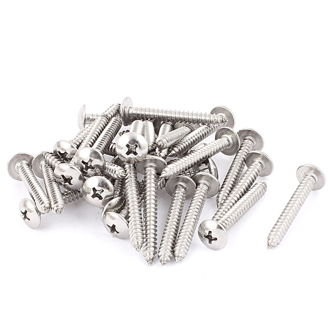 4.8mm x 40mm Stainless Steel Phillips Truss Head Self Tapping Screw Fasteners Silver Tone 30 Pcs