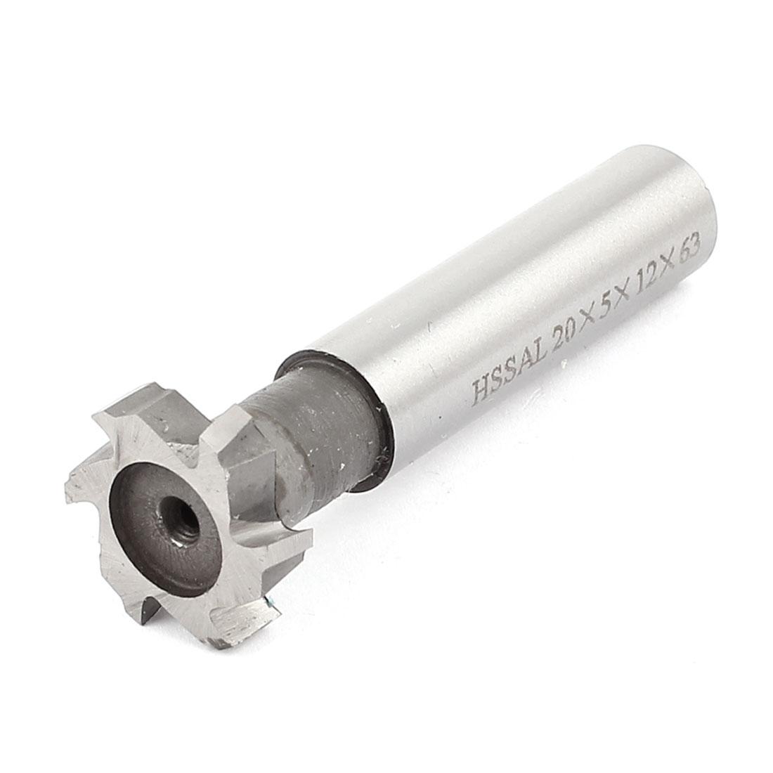20mm Cutting Dia 5mm Depth HSS-AL 6 Flutes T Slot End Mill Cutter 63mm Long