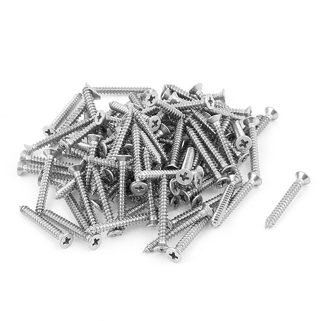 2.9mm x 25mm Countersunk Cross Head Self Tapping Screw Fasteners 100 Pcs