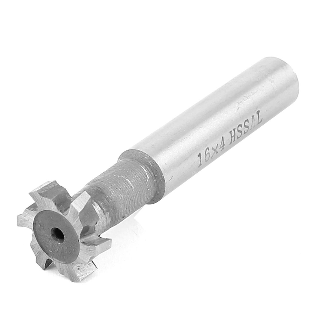 16mm Cutting Dia 4mm Depth HSS-AL 6 Flutes T Slot End Mill Cutter 64mm Long