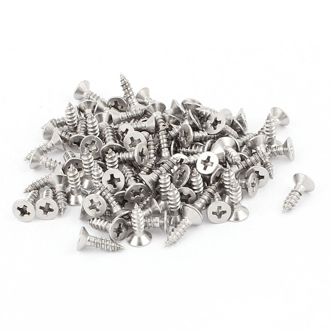 3.5mm x 13mm Stainless Steel Countersunk Cross Head Self Tapping Screw 100 Pcs