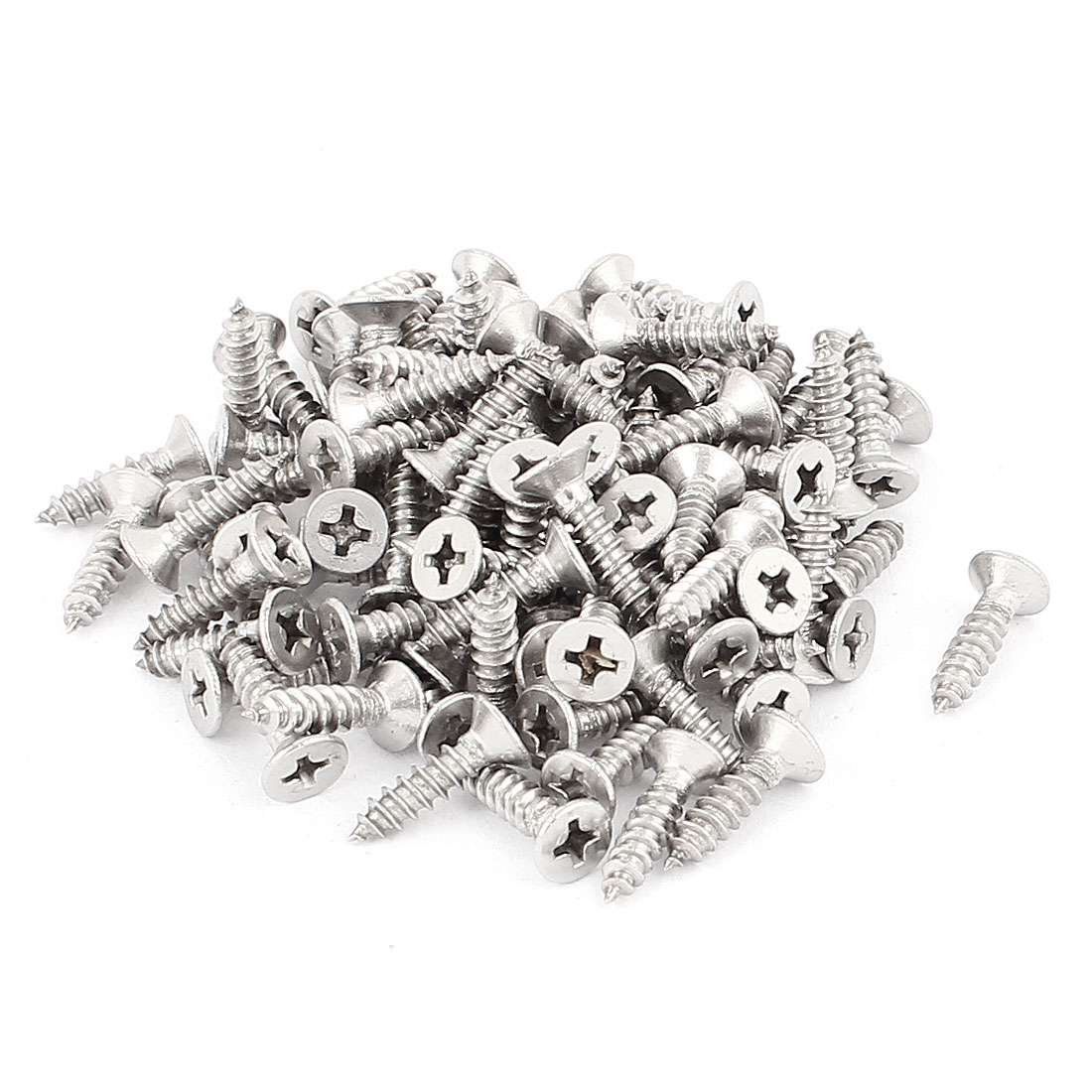 3.9mm x 16mm Countersunk Cross Head Self Tapping Screw Fasteners Silver Tone 100 Pcs