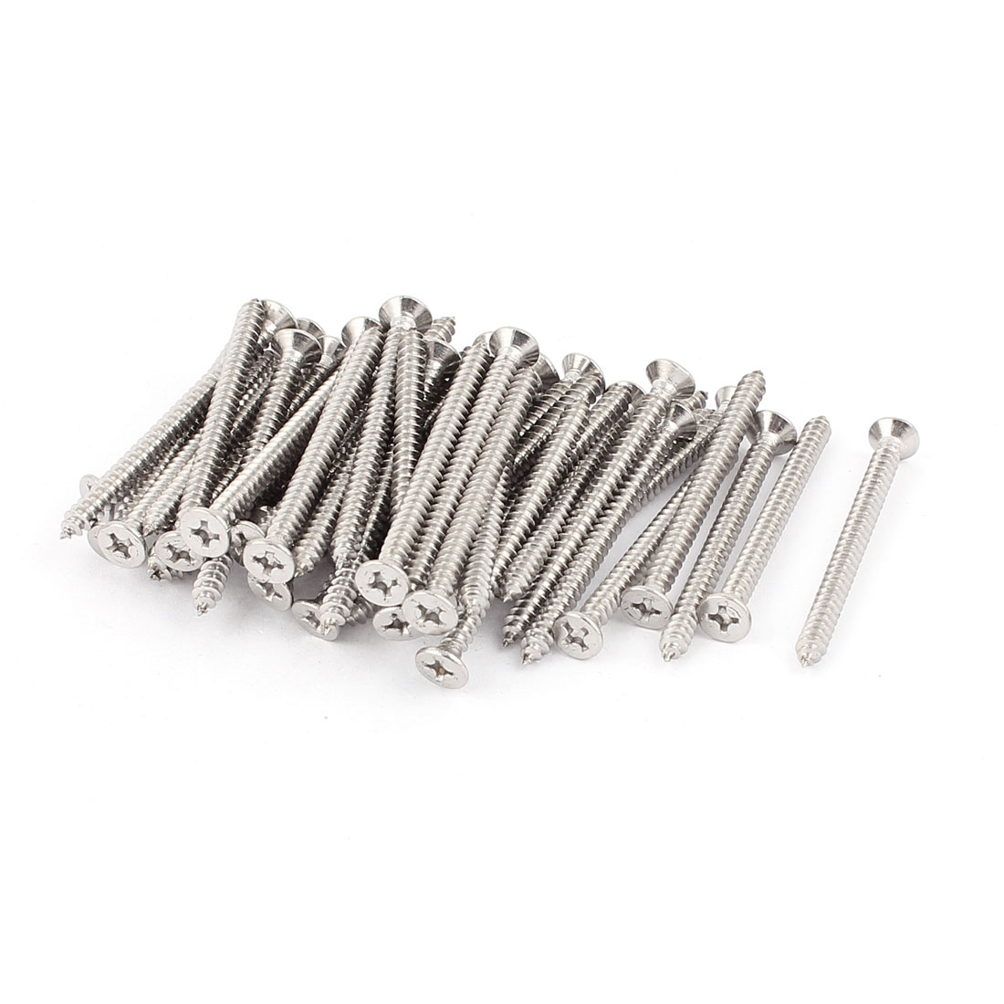 3.9mm x 50mm Stainless Steel Countersunk Cross Head Self Tapping Screw 50 Pcs