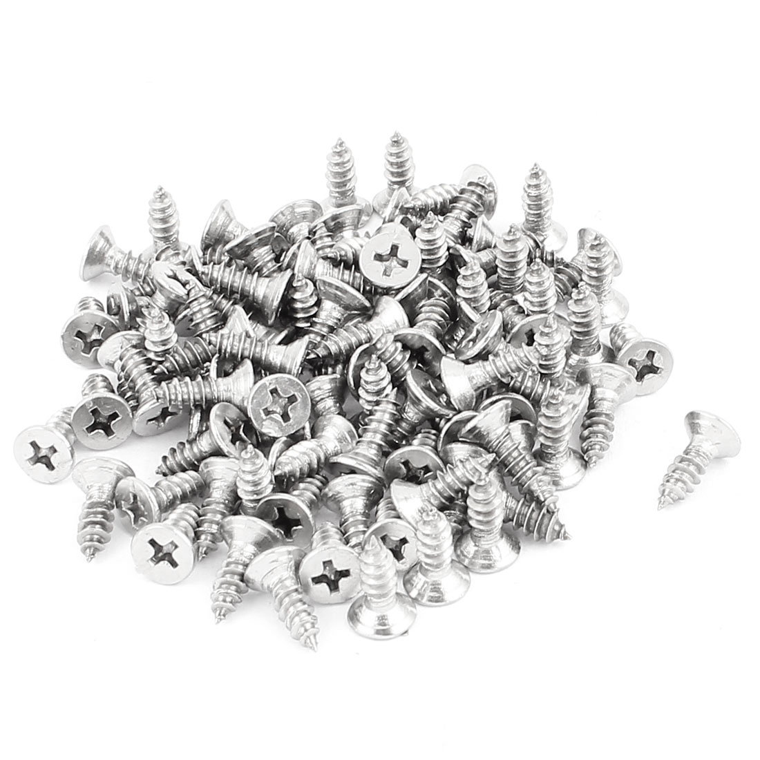 4.2mm x 13mm Flat Head Phillips Self Tapping Screw Fasteners Silver Tone 100 Pcs