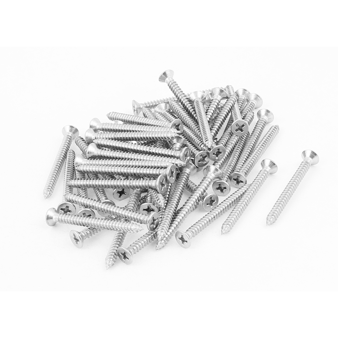 4.2mm x 45mm Countersunk Cross Head Self Tapping Screw Fasteners Silver Tone 50 Pcs