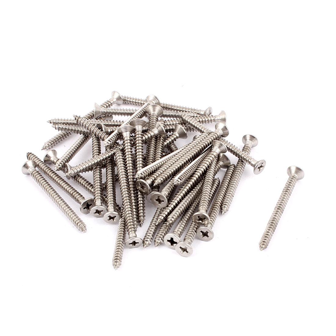 4.2mm x 50mm Full Thread Countersunk Cross Head Self Tapping Screw Fasteners 40 Pcs