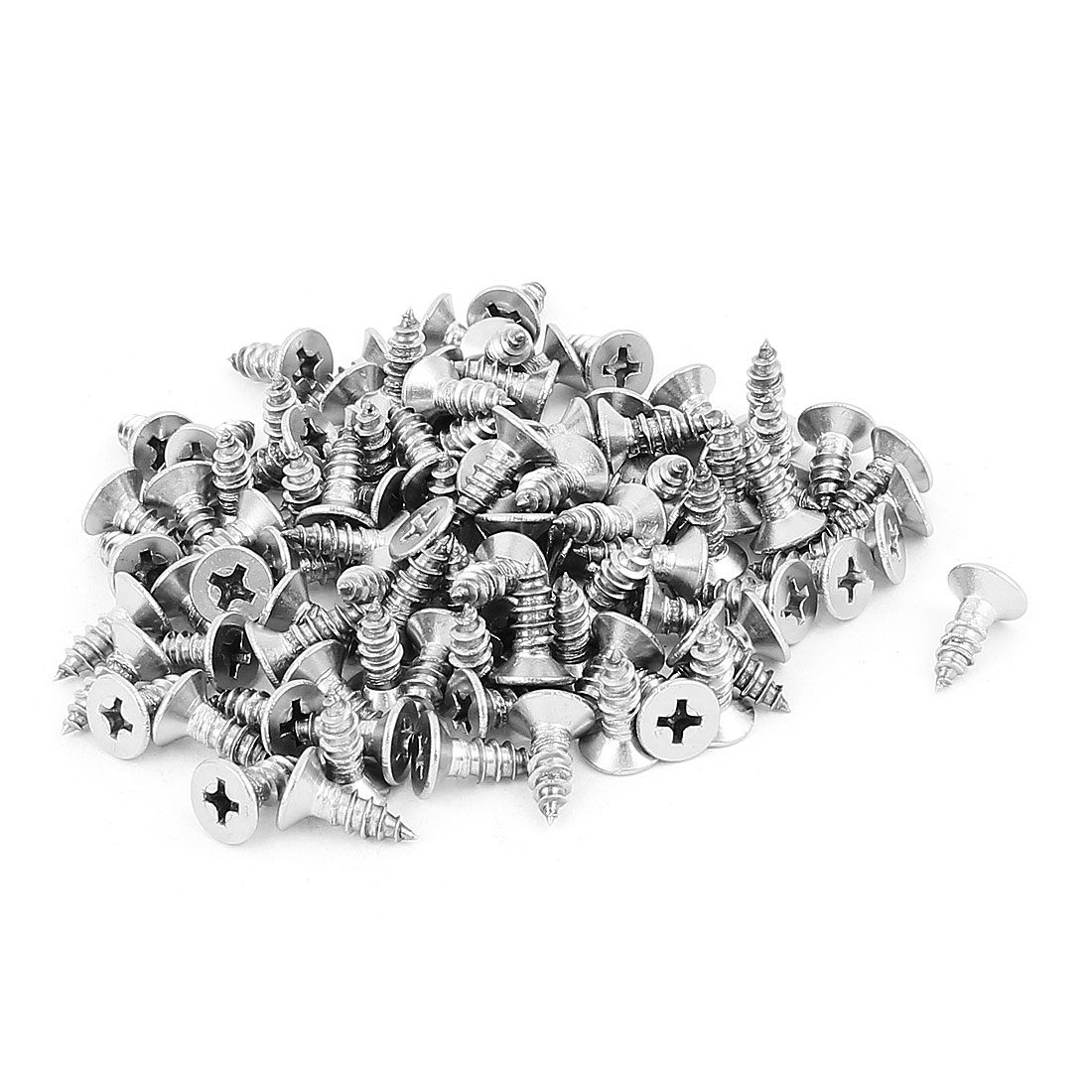 4.8mm x 13mm Flat Head Phillips Self Tapping Screw Fasteners Silver Tone 100 Pcs