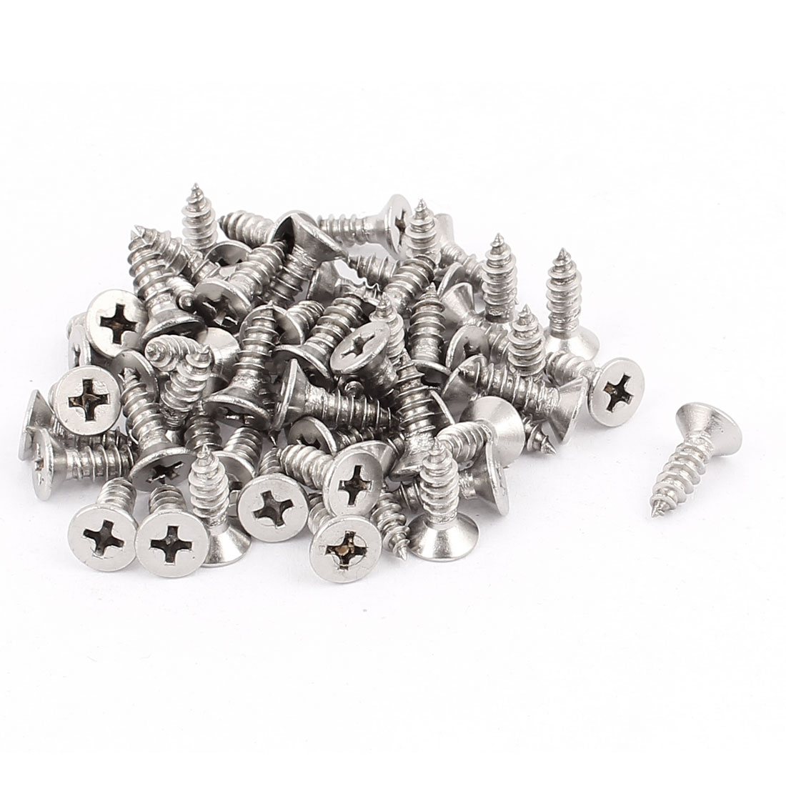 4.8mm x 16mm Flat Head Phillips Self Tapping Screw Fasteners 60 Pcs