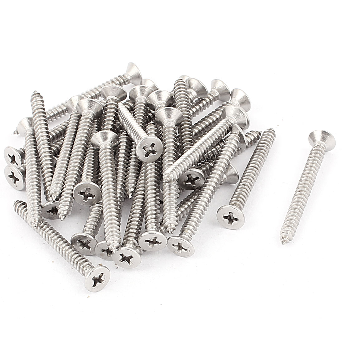 4.8mm x 50mm Countersunk Cross Head Self Tapping Screw Fasteners 35 Pcs