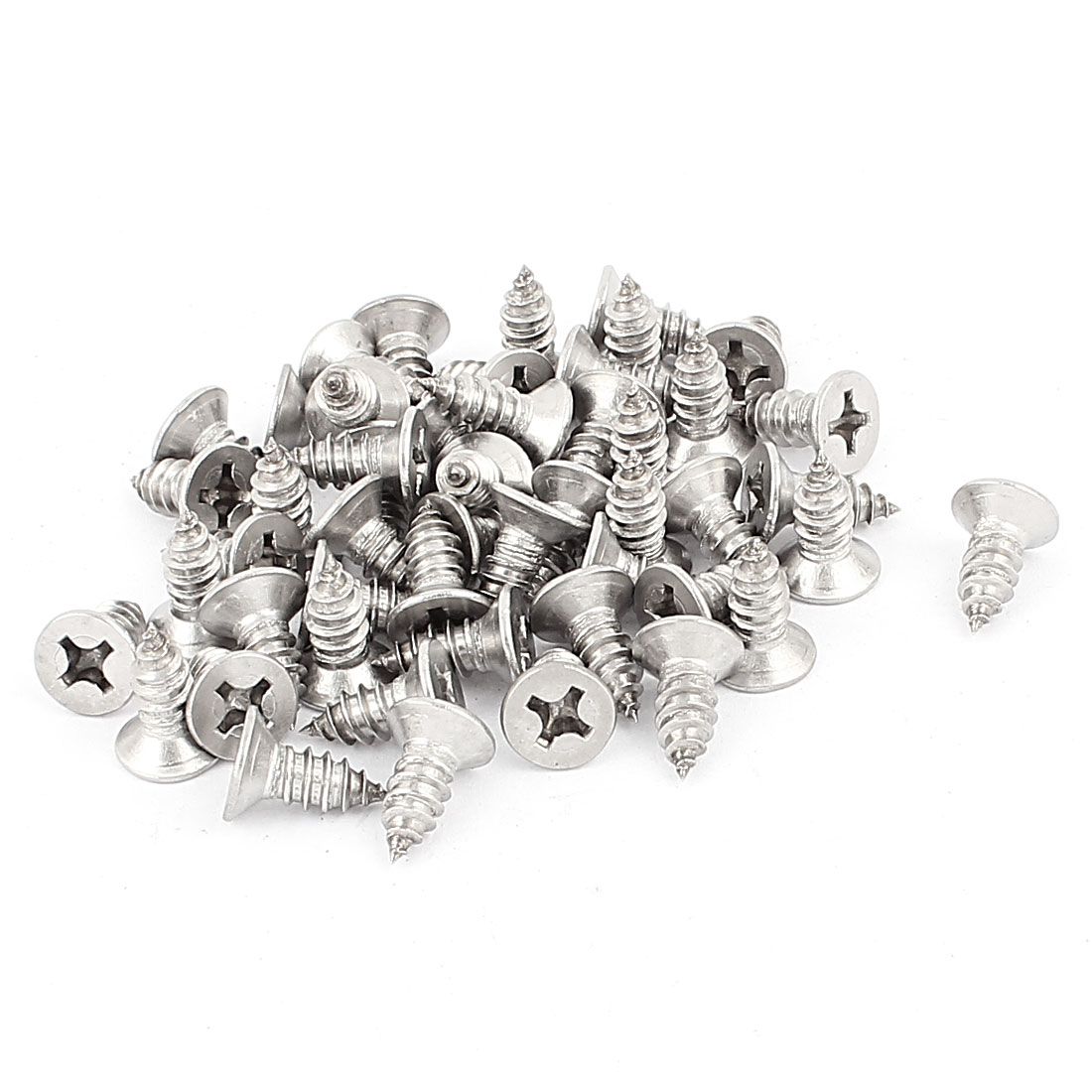 6.3mm x 16mm Flat Head Phillips Self Tapping Screw Fasteners Silver Tone 50 Pcs
