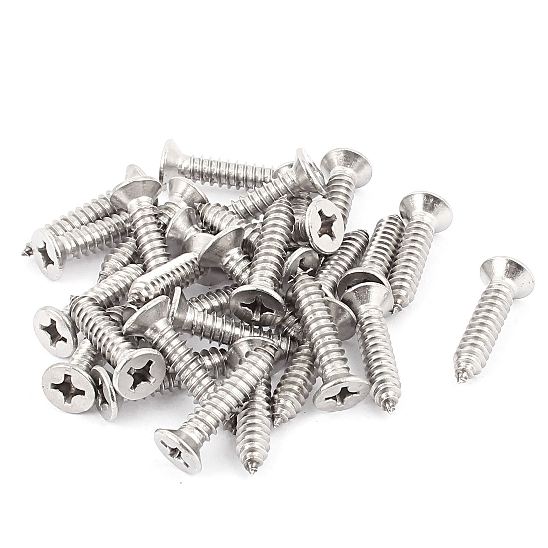 6.3mm x 32mm Countersunk Cross Head Self Tapping Screw Fasteners Silver Tone 30 Pcs