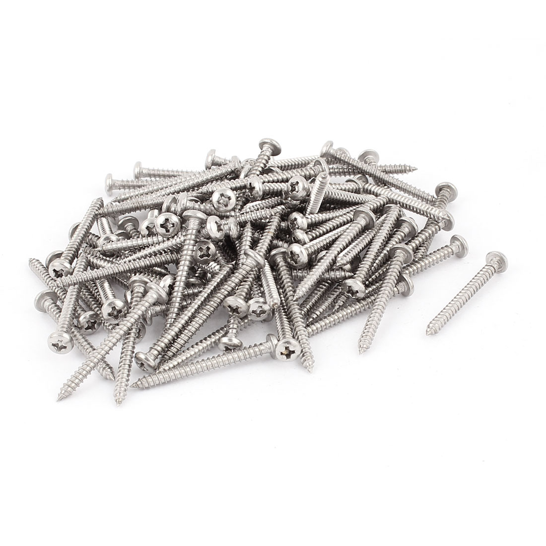 2.9mm x 32mm Pan Head Phillips Self Tapping Screw Fasteners Silver Tone 100 Pcs