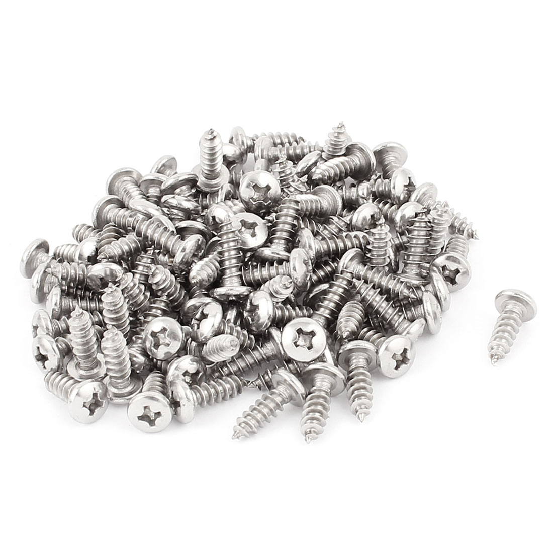 3.9mm x 13mm Phillips Cross Drive Pan Head Self Tapping Screw Fasteners Silver Tone 100 Pcs