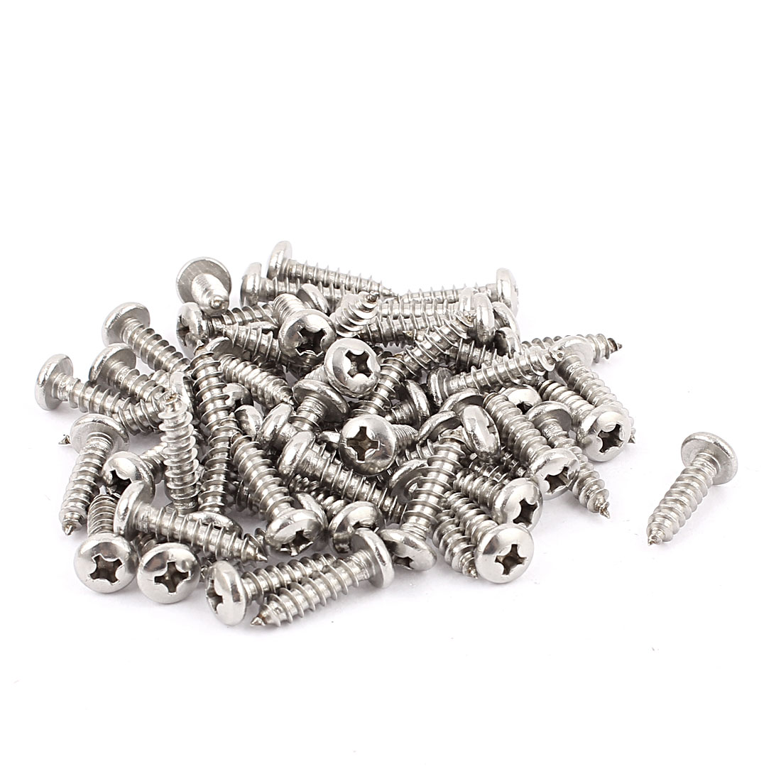 3.9mm x 16mm Pan Head Phillips Self Tapping Screw Fasteners Silver Tone 60 Pcs