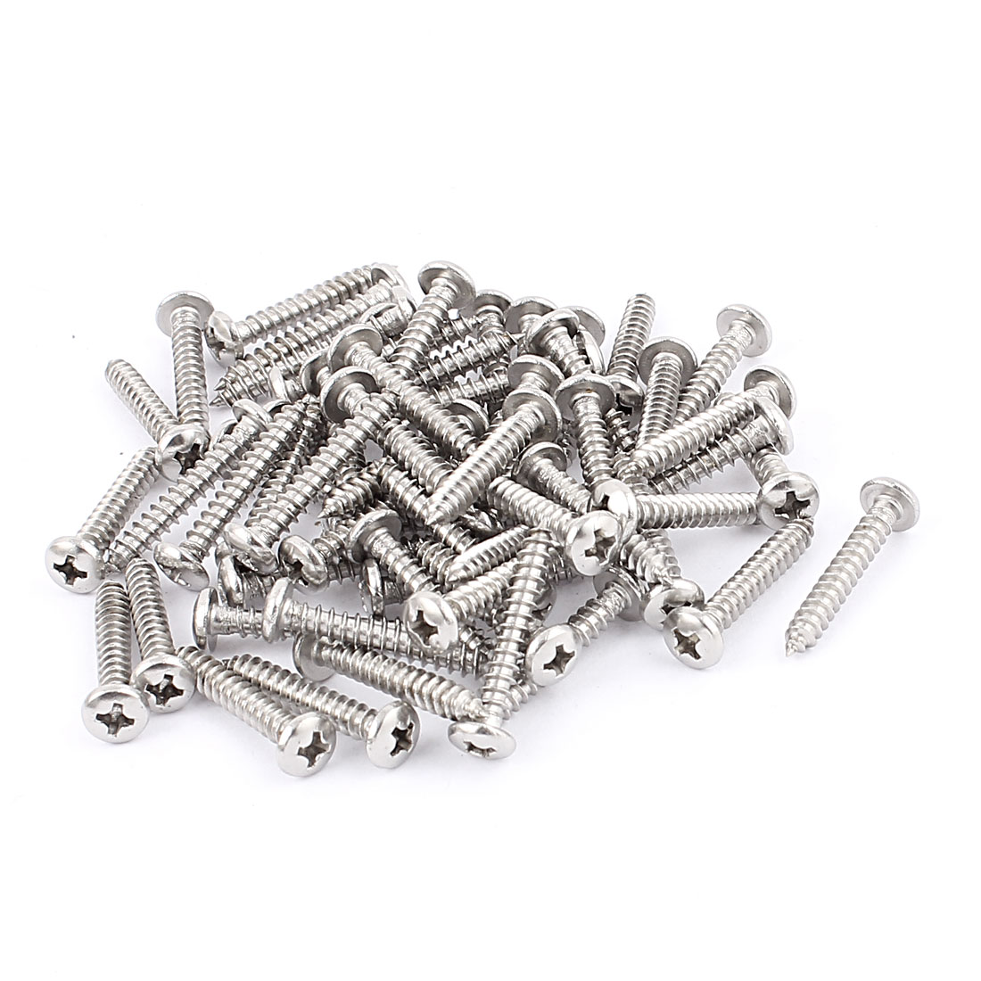 3.9mm x 27mm Stainless Steel Phillips Pan Head Self Tapping Screw Fasteners Silver Tone 60 Pcs
