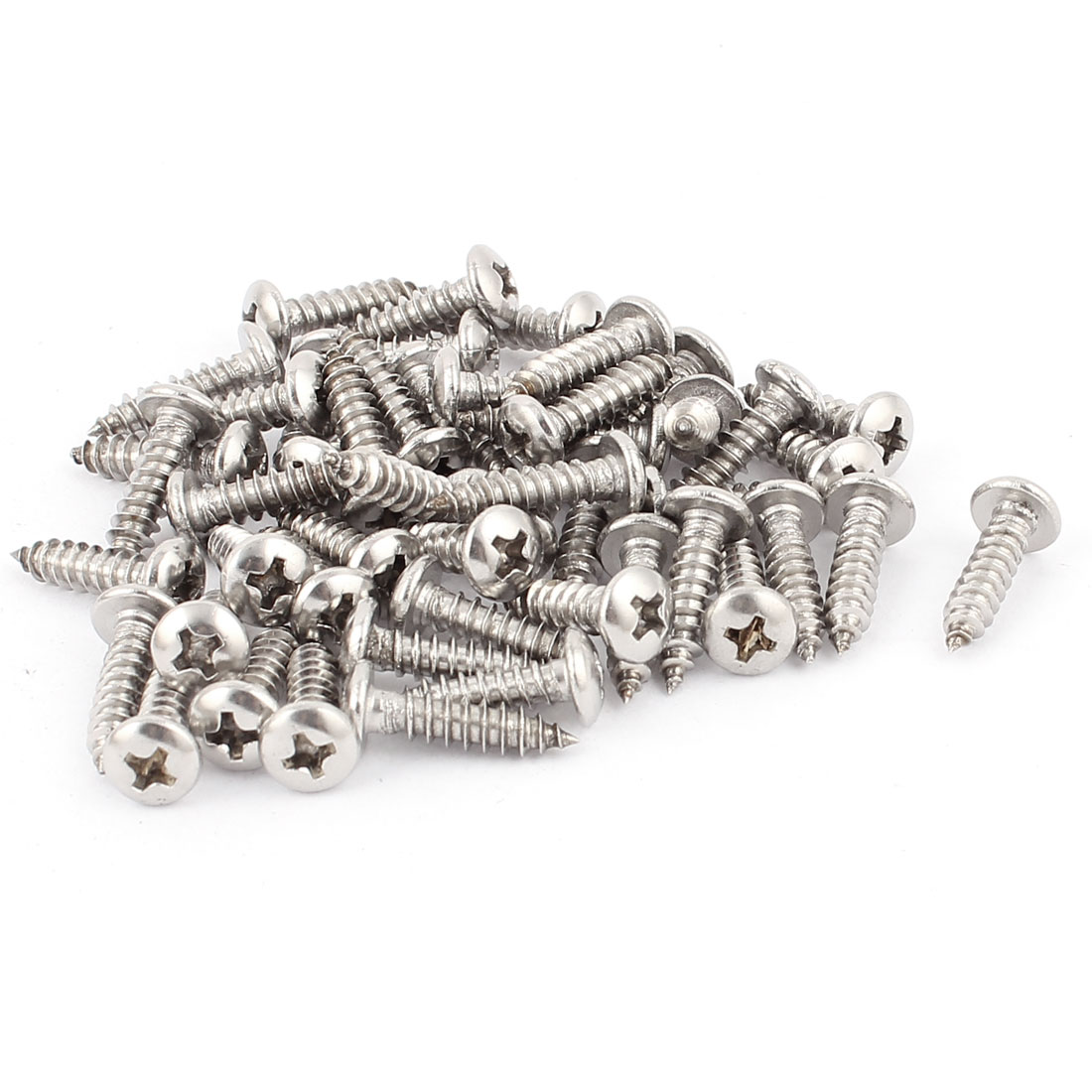 4.2mm x 18mm Pan Head Phillips Self Tapping Screw Fasteners Silver Tone 60 Pcs