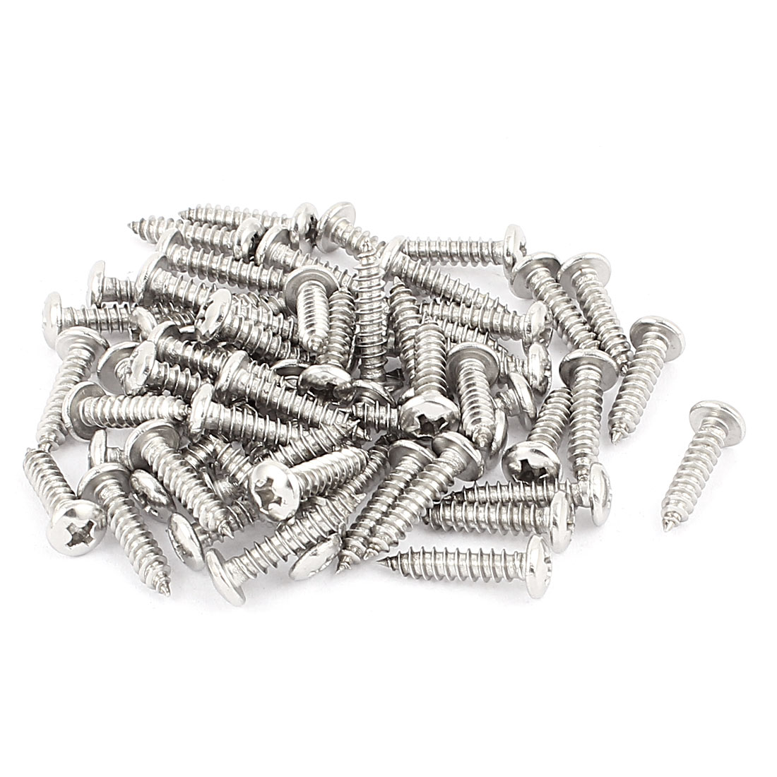 4.2mm x 19mm Pan Head Phillips Self Tapping Screw Fasteners Silver Tone 60 Pcs