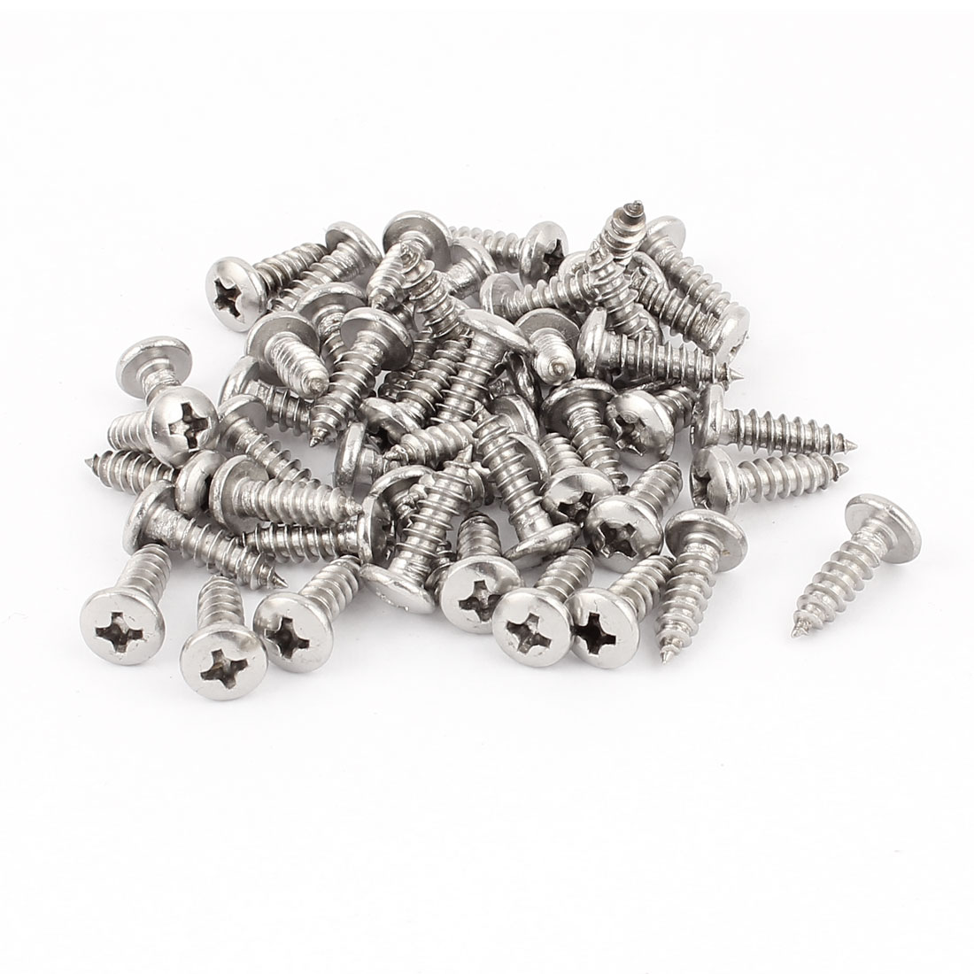 4.8mm x 18mm Phillips Cross Drive Pan Head Self Tapping Screw Fasteners Silver Tone 50 Pcs
