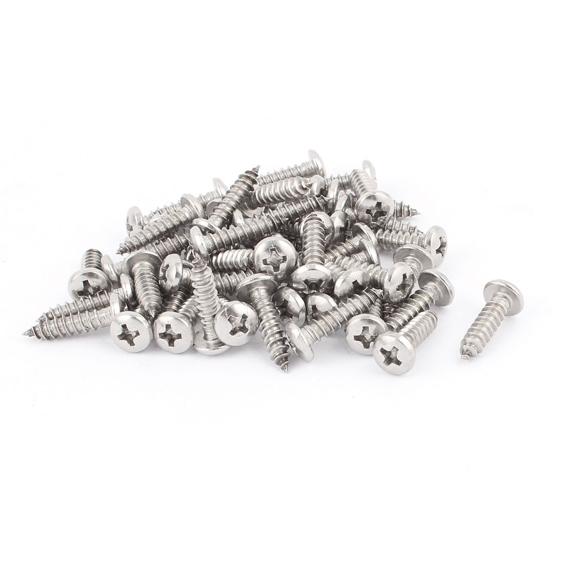 4.8mm x 21mm Phillips Cross Drive Pan Head Self Tapping Screw Fasteners Silver Tone 50 Pcs