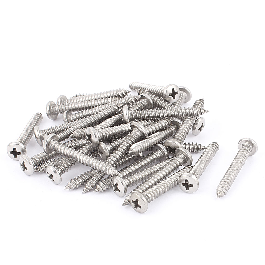 4.8mm x 37mm Phillips Cross Drive Pan Head Self Tapping Screw Fasteners Silver Tone 35 Pcs
