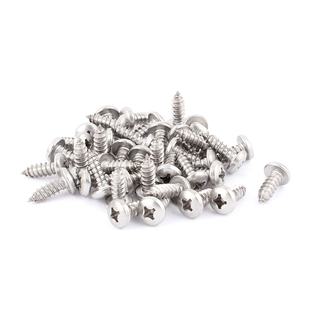 5.5mm x 18mm Pan Head Phillips Self Tapping Screw Fasteners Silver Tone 40 Pcs