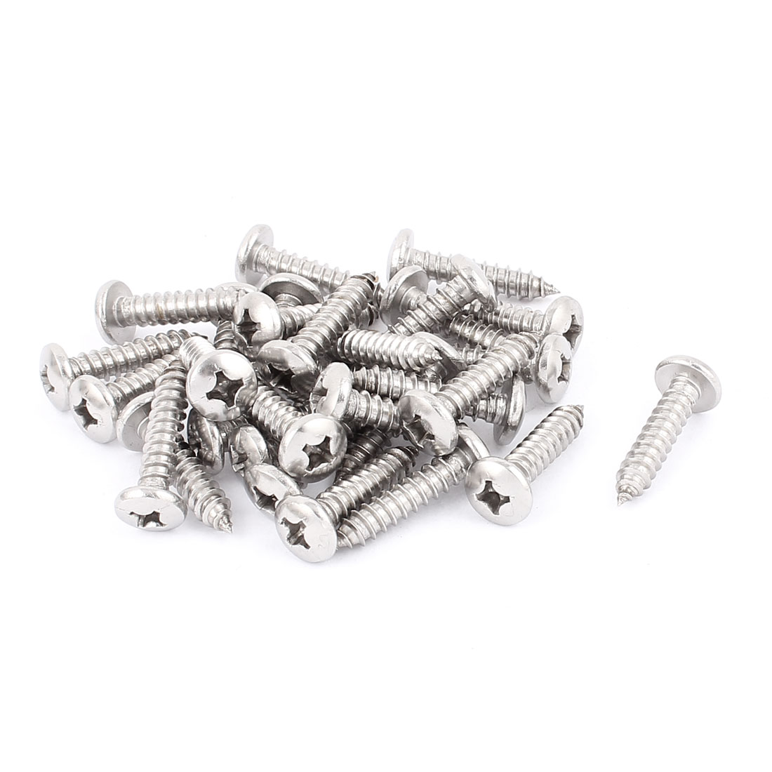 5.5mm x 28mm Phillips Cross Drive Pan Head Self Tapping Screw Fasteners Silver Tone 30 Pcs