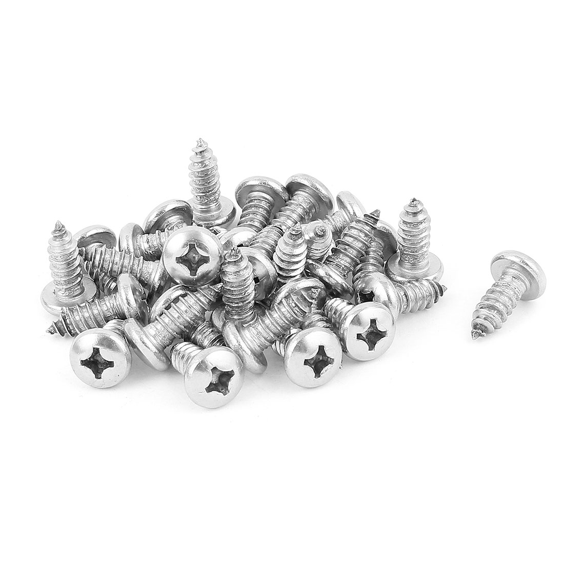 6.3mm x 20mm Stainless Steel Phillips Pan Head Self Tapping Screw Fasteners Silver Tone 30 Pcs