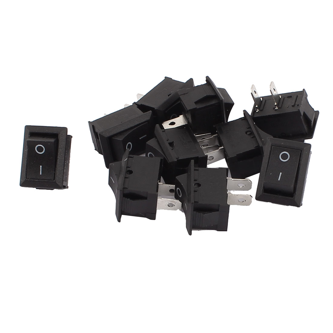 10 Pcs Black 2 Terminal SPST ON-OFF Snap-in Rocker Boat Switch 21x15mm