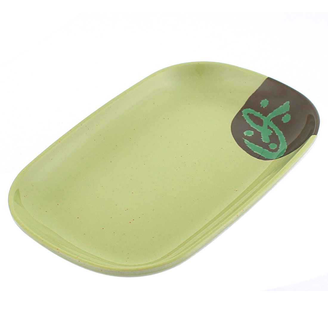 Rectangle Shaped Dinner Dessert Vermicelli Food Fruit Plate Dish Olive Green