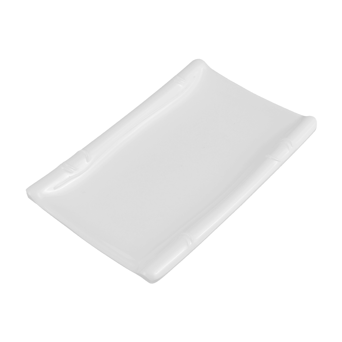 Kitchen Restaurant Plastic Rectangle Design Plate Dish Tableware White