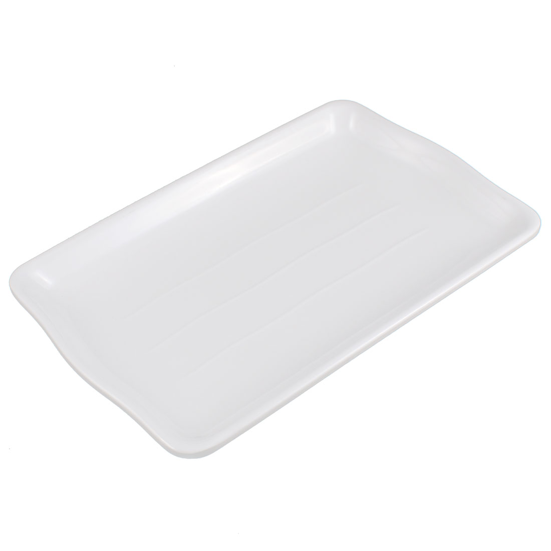 Kitchen Plastic Rectangle Design Plate Dish Tableware White 23.5 x 15cm