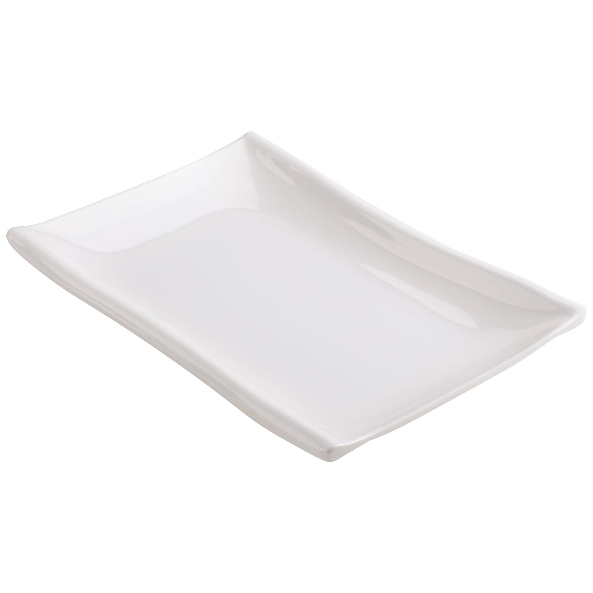 Household Rectangle Design Dessert Food Appetizer Serving Plate Dish White