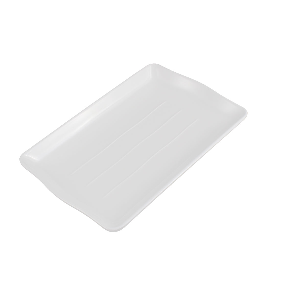 Home Restaurant Plastic Lunch Food Serving Dish Plate White 21 x 13.5cm