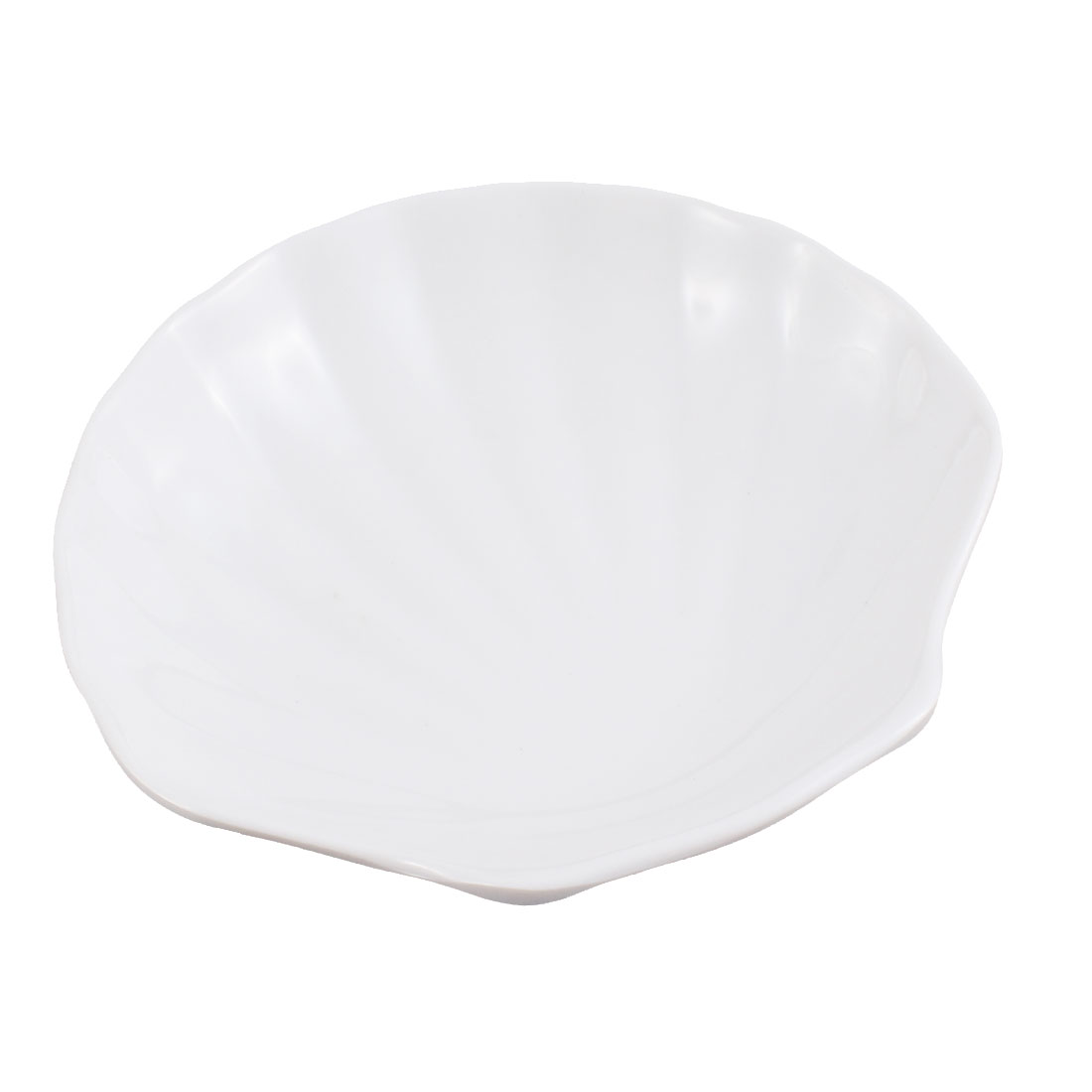Seashell Design Soy Sauce Dipping Mini Dish Plate 5.5 Inch Length White